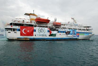 This file picture shows the Turkish ship Mavi Marmara taking part in the